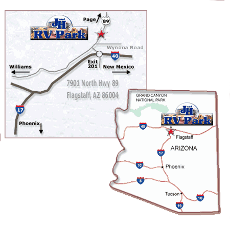 finding J & H RV Park in Flagstaff AZ